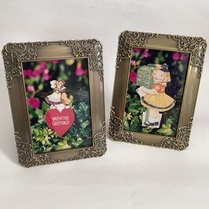 2 Picture Frame Metal Glass Holds 4 x 6 Photo